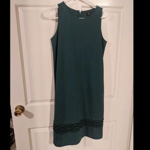 Ann Taylor Lace Hem Tank Dress Size 2 - Dark Green